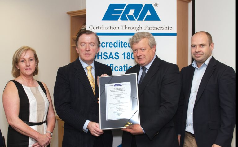 Mallow Primary Healthcare Centre awarded OHSAS 18001 Certification by EQA. Mallow Primary Healthcare Centre, Co. Cork has become one of the first Primary Healthcare Centres to be awarded an Occupational Health & Safety Management System certificate. EQA (Ireland) are the first and currently the only certification body with OHSAS 18001 accreditation from the Irish National Accreditation Board (INAB). Certificates were presented by Mr. John Perry TD, Minister for Small Business at a ceremony marking the launch at the National Irish Safety Organisation (NISO) head office in Dublin. Pictured at the certificate presentation were (from left to right): John Perry TD Minister for Small Business Dr. David Molony Mallow Primary Healthcare Centre Damian Casey Christine Daly Director EQA Twenty other organisations representing a wide range of business sectors received their certificates from the Minister at the function. Over 60,000 organisations in more than 120 countries have been certified to the OHSAS 18001 standard in the past decade. Speaking at the presentation, the Minister congratulated Mallow Primary Healthcare Centre and the other organisations on achieving OHSAS 18001 certification. He spoke of the advantages of OHSAS 18001 Certification, in particular the opportunities for an organisation to control its OH&S risks and improve its OH&S performance. In addition, the Minister stated that certification is being recognised increasingly by industry as a clear advantage when tendering for public and private sector contracts at local and international levels. Mallow Primary Healthcare Centre Mallow, Co.Cork.